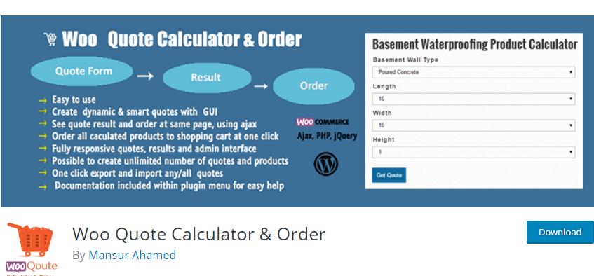 WooCommerce plugin orçamento woo quote calculator e order plugin
