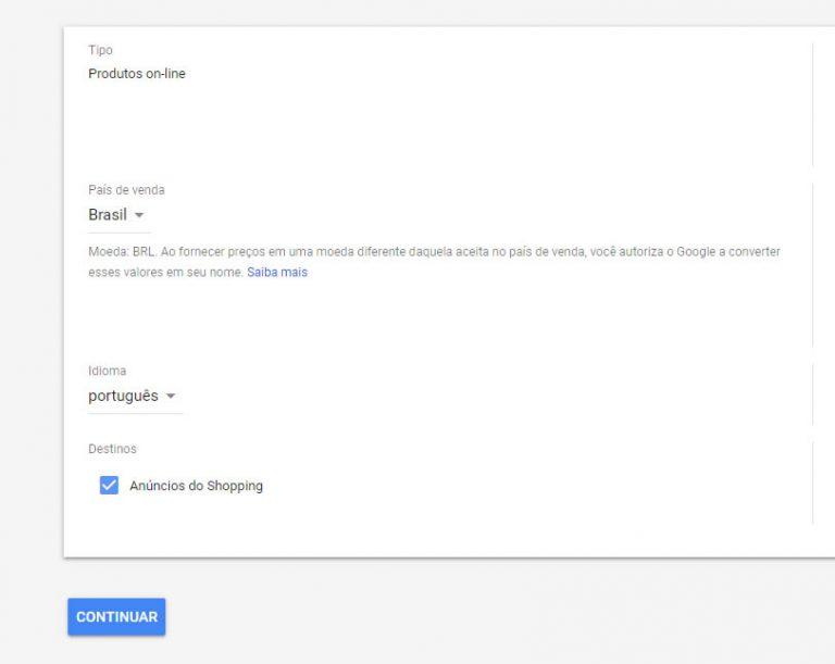 google Merchant configuração feeds