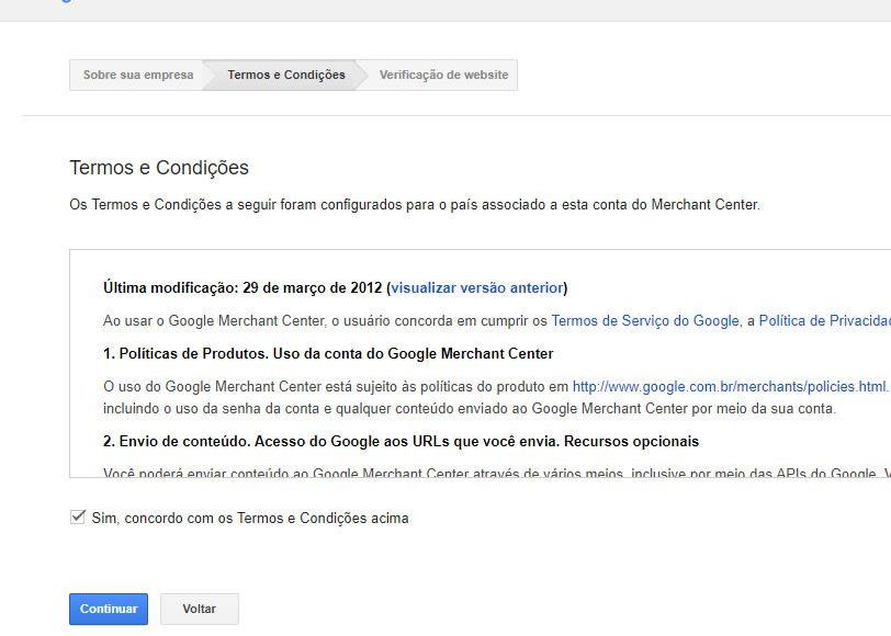 Contrato de uso do Google Shopping