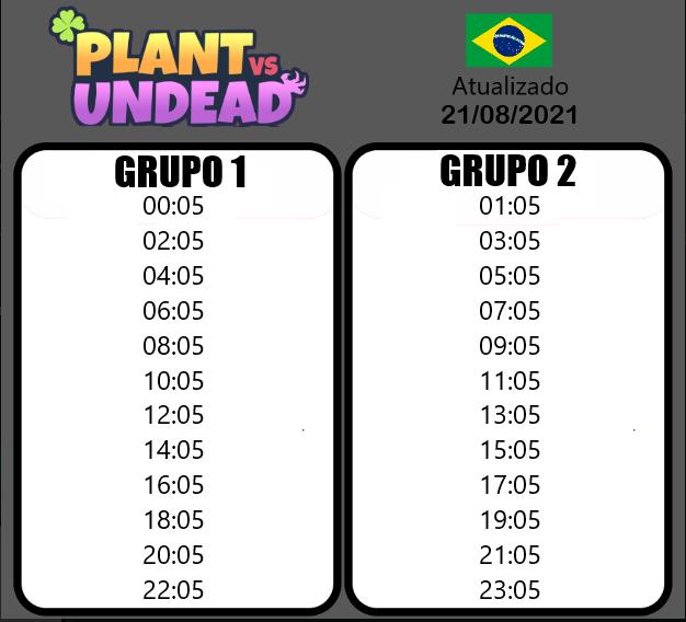 Plant vs undead horário dos grupos